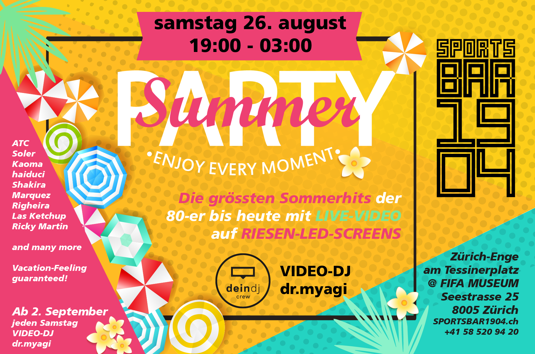 Summer Party mit VideoDJ und Riesen LED Screens SPORTSBAR 1904 party nightlife zürich
